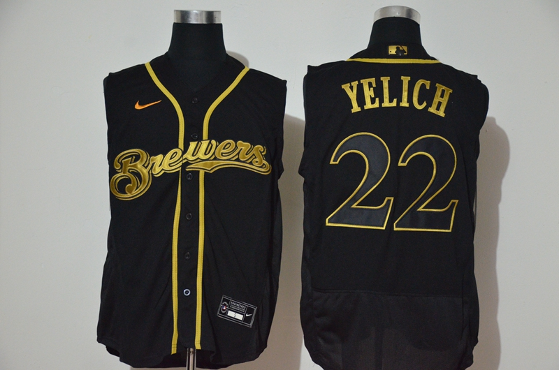 Men's Milwaukee Brewers #22 Christian Yelich Black Golden 2020 Cool and Refreshing Sleeveless Fan Stitched Flex Nike Jersey