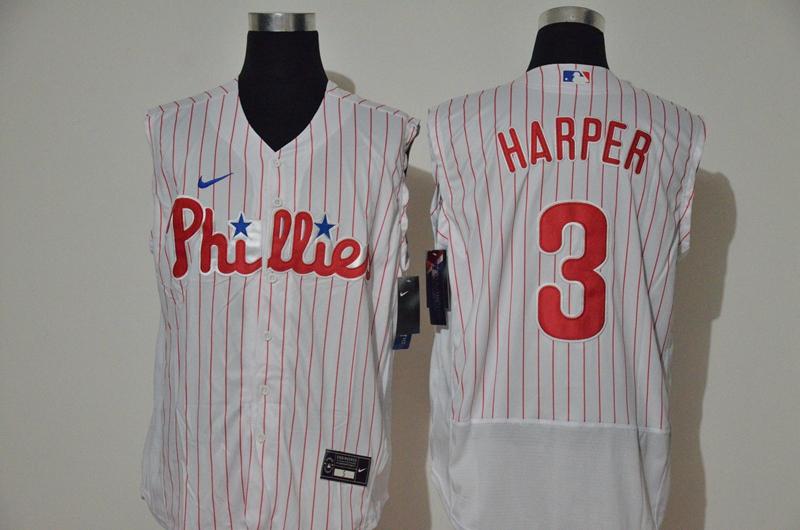 Men's Philadelphia Phillies #3 Bryce Harper White 2020 Cool and Refreshing Sleeveless Fan Stitched Flex Nike Jersey