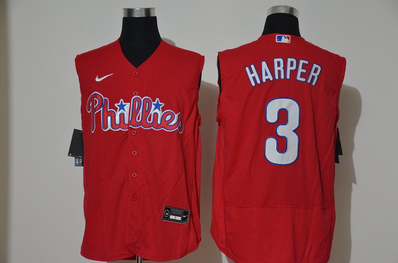 Men's Philadelphia Phillies #3 Bryce Harper Red 2020 Cool and Refreshing Sleeveless Fan Stitched Flex Nike Jersey