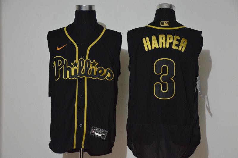 Men's Philadelphia Phillies #3 Bryce Harper Black Golden 2020 Cool and Refreshing Sleeveless Fan Stitched Flex Nike Jersey