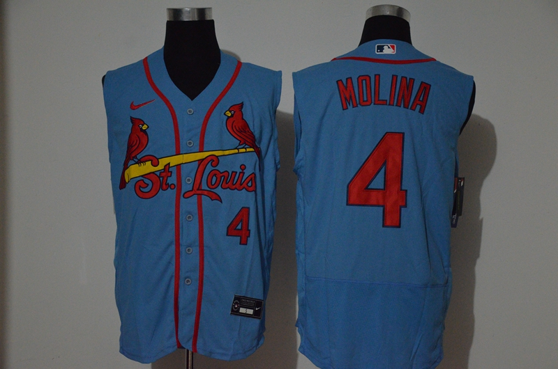 Men's St. Louis Cardinals #4 Yadier Molina Light Blue 2020 Cool and Refreshing Sleeveless Fan Stitched Flex Nike Jersey