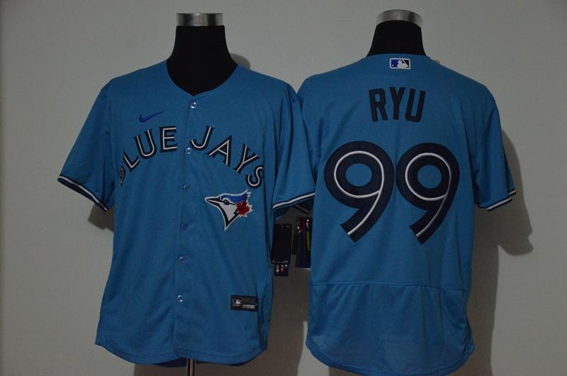Men's Toronto Blue Jays #99 Hyun-Jin Ryu Blue Stitched MLB Flex Base Nike Jersey