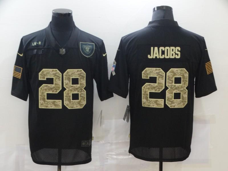 Men's Las Vegas Raiders #28 Josh Jacobs Black Camo 2020 Salute To Service Stitched NFL Nike Limited Jersey