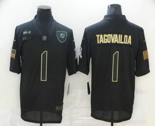 Men's Miami Dolphins #1 Tua Tagovailoa Black 2020 Salute To Service Stitched NFL Nike Limited Jersey