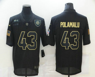 Men's Pittsburgh Steelers #43 Troy Polamalu Black 2020 Salute To Service Stitched NFL Nike Limited Jersey