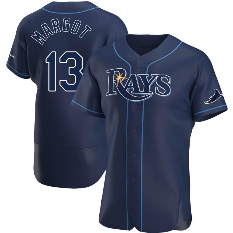 Men's Tampa Bay Rays #13 Manuel Margot Navy Alternate Nike Jersey