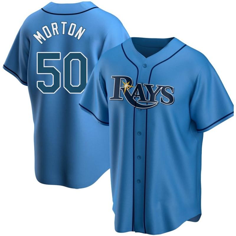 Men's Tampa Bay Rays Replica #50 Charlie Morton Light Blue Alternate Nike Jersey