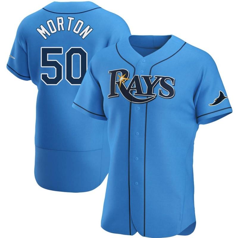 Men's Tampa Bay Rays #50 Charlie Morton Light Blue Alternate Nike Jersey