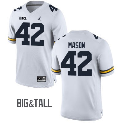 Men's Michigan Wolverines #42 Ben Mason White Big&Tall Performance Jersey