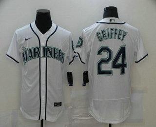Men's Seattle Mariners #24 Ken Griffey Jr. White Stitched MLB Flex Base Nike Jersey