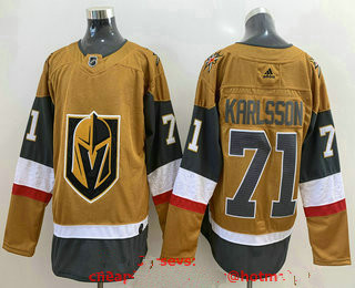 Men's Vegas Golden Knights #71 William Karlsson Gold 2020-21 Alternate Stitched Adidas Jersey