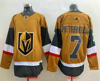 Men's Vegas Golden Knights #7 Alex Pietrangelo Gold 2020-21 Alternate Stitched Adidas Jersey