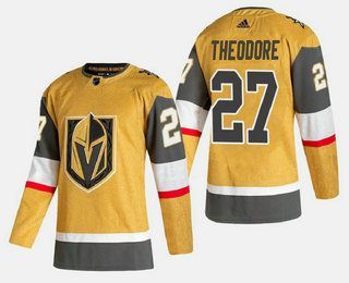 Men's Vegas Golden Knights #27 Shea Theodore Gold 2020-21 Alternate Stitched Adidas Jersey