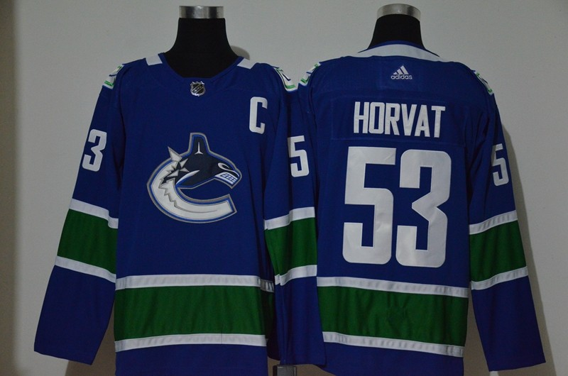 Men's Vancouver Canucks #53 Bo Horvat NEW Blue With C Patch Adidas Stitched NHL