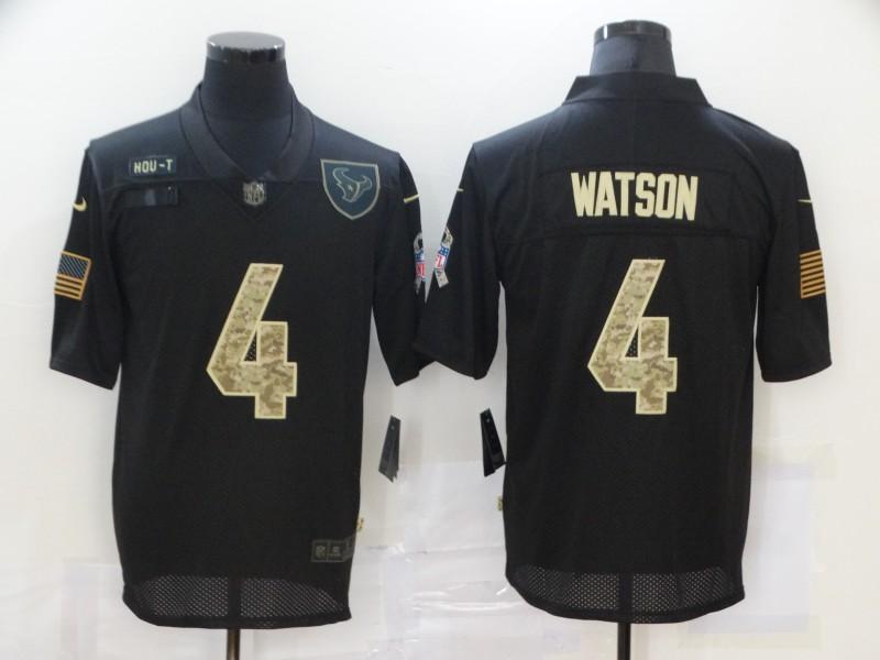 Men's Houston Texans #4 Deshaun Watson Black Camo 2020 Salute To Service Stitched NFL Nike Limited Jersey