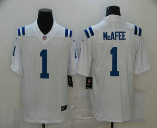 Men's Indianapolis Colts #1 Pat McAfee White 2017 Vapor Untouchable Stitched NFL Nike Limited Jersey