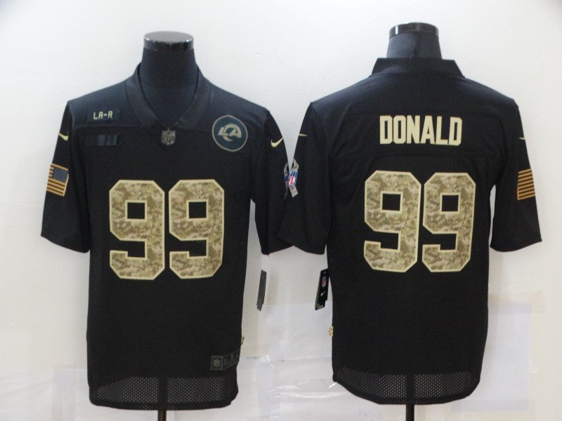 Men's Los Angeles Rams #99 Aaron Donald Black Camo 2020 Salute To Service Stitched NFL Nike Limited Jersey