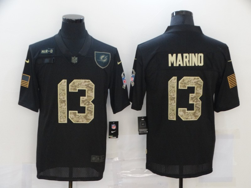Men's Miami Dolphins #13 Dan Marino Black Camo 2020 Salute To Service Stitched NFL Nike Limited Jersey