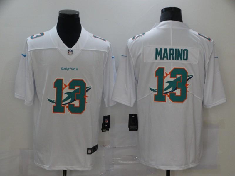 Men's Miami Dolphins #13 Dan Marino White 2020 Shadow Logo Vapor Untouchable Stitched NFL Nike Limited Jersey