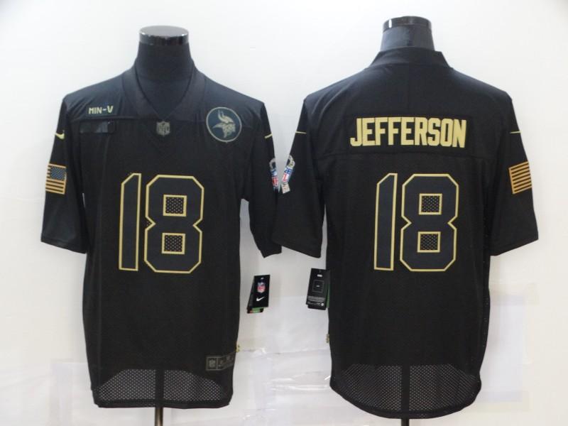 Men's Minnesota Vikings #18 Justin Jefferson Black 2020 Salute To Service Stitched NFL Nike Limited Jersey