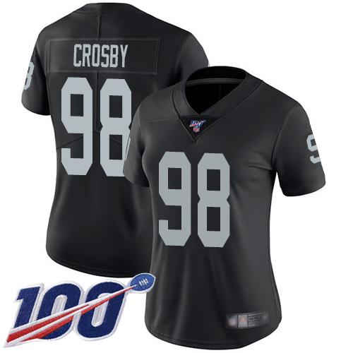 Oakland Raiders #98 Maxx Crosby Women's Black Home Limited 100th Season Vapor Untouchable Football Jersey