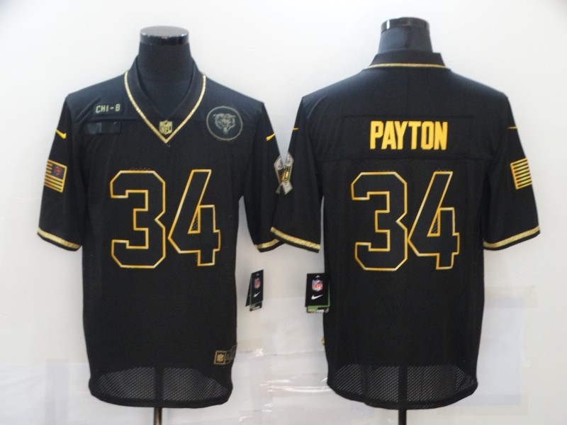 Men's Chicago Bears #34 Walter Payton Black Gold 2020 Salute To Service Stitched NFL Nike Limited Jersey