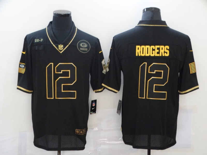 Men's Green Bay Packers #12 Aaron Rodgers Black Gold 2020 Salute To Service Stitched NFL Nike Limited Jersey