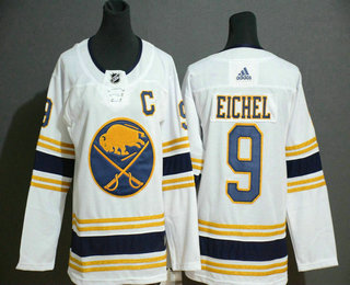 Youth Buffalo Sabres #9 Jack Eichel White With Gold C Patch and 50th Anniversary Adidas Stitched NHL Jersey