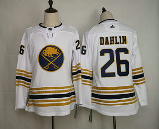 Youth Buffalo Sabres #26 Rasmus Dahlin White With Gold 50th Anniversary Adidas Stitched NHL Jersey