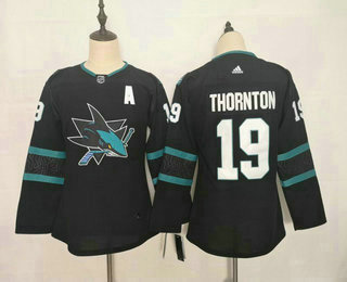 Youth San Jose Sharks #19 Joe Thornton NEW Black Adidas Stitched NHL Jersey
