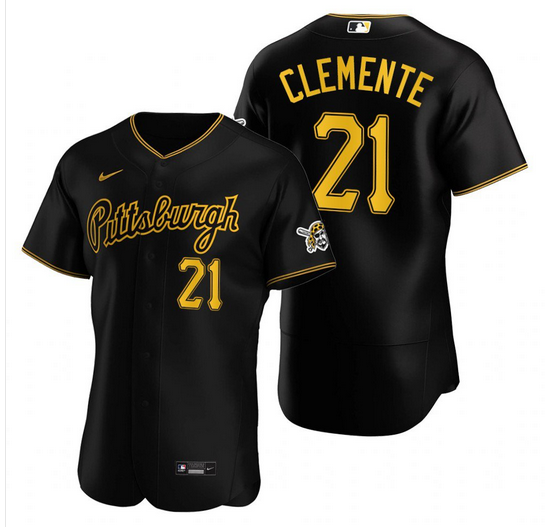 Men's Pittsburgh Pirates #21 Roberto Clemente Black Stitched MLB Flex Base Nike Jersey