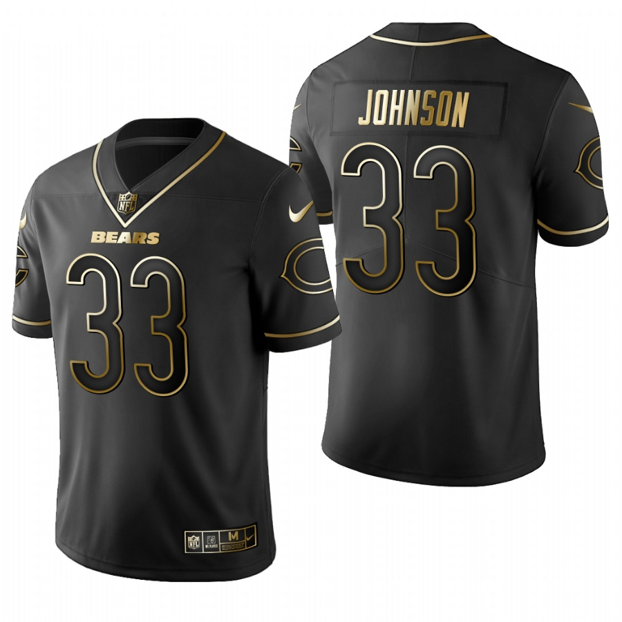 Men's Chicago Bears #33 Jaylon Johnson Black 2020 NFL Draft Golden Edition Jersey