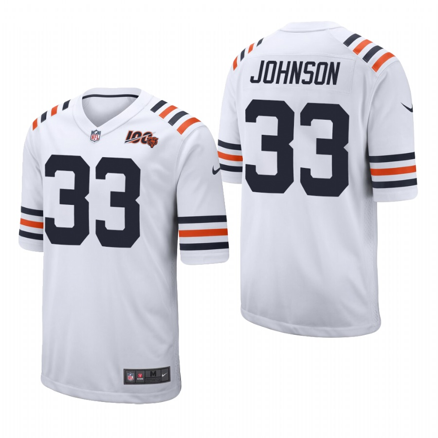Men's Chicago Bears #33 Jaylon Johnson White Classic Jersey 2020 NFL Draft