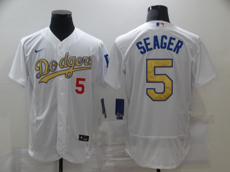 Men's Los Angeles Dodgers #5 Corey Seager 2020 White Gold Sttiched Nike MLB Jersey