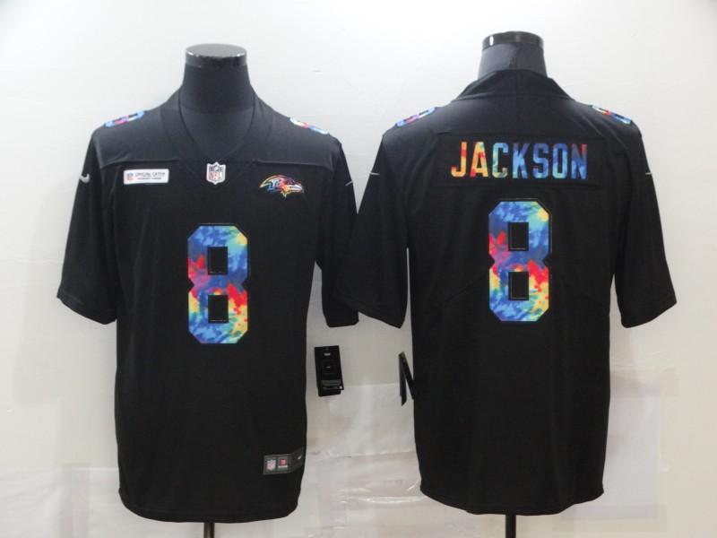 Men's Baltimore Ravens #8 Lamar Jackson Multi-Color Black 2020 NFL Crucial Catch Vapor Untouchable Nike Limited Jersey