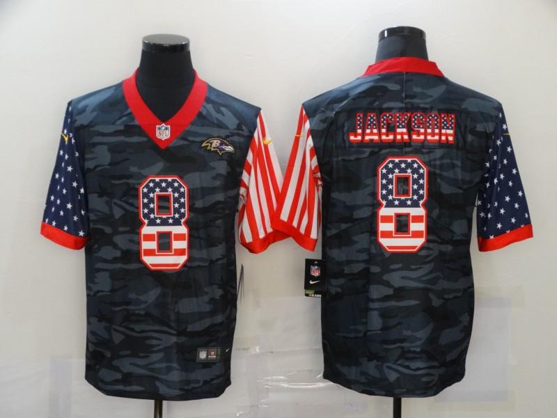 Men's Baltimore Ravens #8 Lamar Jackson USA Camo 2020 Salute To Service Stitched NFL Nike Limited Jersey