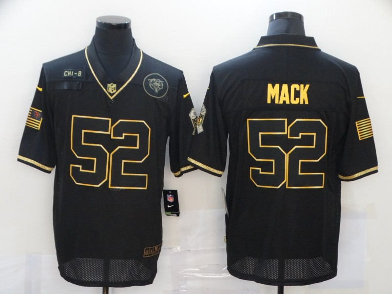 Men's Chicago Bears #52 Khalil Mack Black Gold 2020 Salute To Service Stitched NFL Nike Limited Jersey