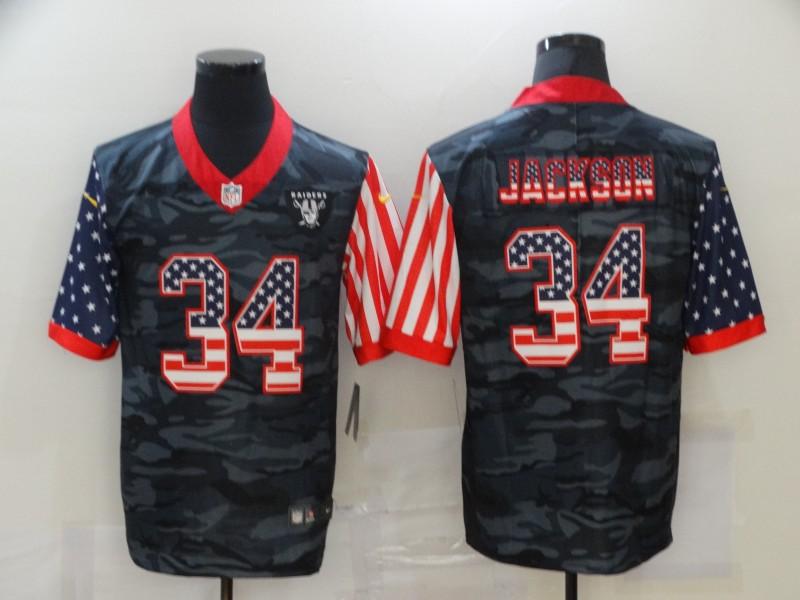 Men's Las Vegas Raiders #34 Bo Jackson USA Camo 2020 Salute To Service Stitched NFL Nike Limited Jersey