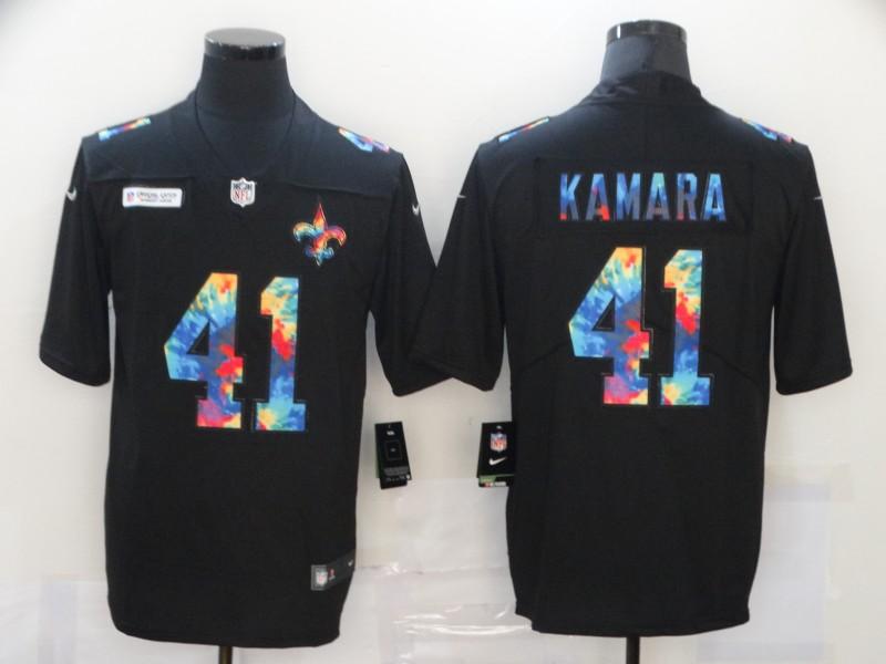 Men's New Orleans Saints #41 Alvin Kamara Multi-Color Black 2020 NFL Crucial Catch Vapor Untouchable Nike Limited Jersey