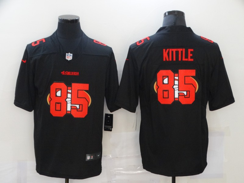 Men's San Francisco 49ers #85 George Kittle Black 2020 Shadow Logo Vapor Untouchable Stitched NFL Nike Limited Jersey