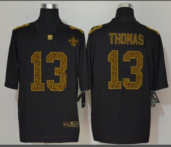 Men's New Orleans Saints #13 Michael Thomas Black 2020 Nike Flocked Leopard Print Vapor Limited NFL Jersey