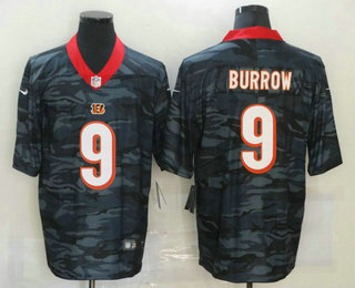 Men's Cincinnati Bengals #9 Joe Burrow 2020 Camo Limited Stitched Nike NFL Jersey