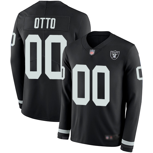 Men's Limited #00 Jim Otto Black Jersey Therma Long Sleeve Football Oakland Raiders