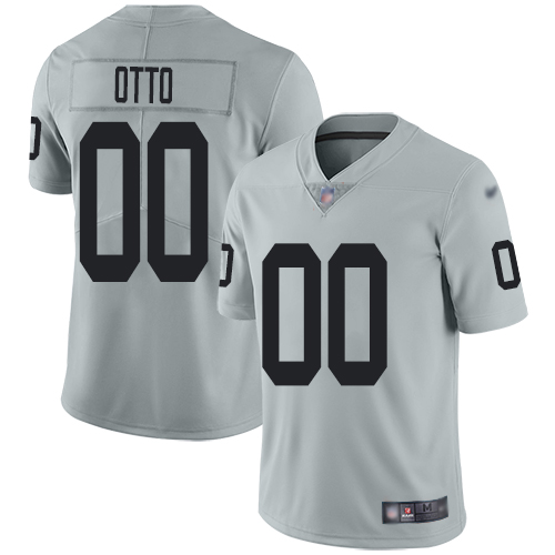 Men's Limited #00 Jim Otto Silver Jersey Inverted Legend Football Oakland Raiders