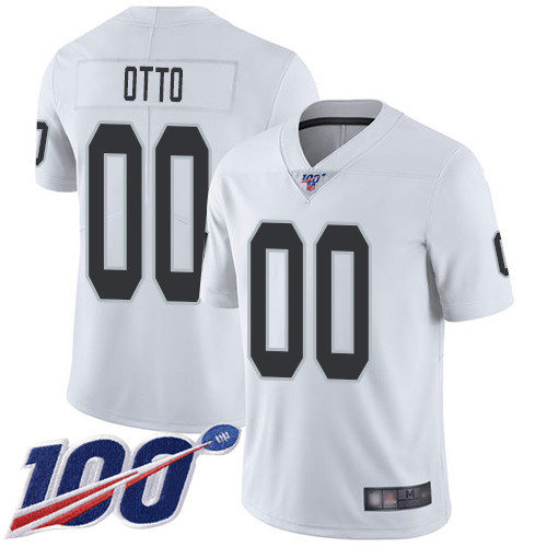 Men's Limited #00 Jim Otto White Jersey Vapor Untouchable Road Football Oakland Raiders 100th Season