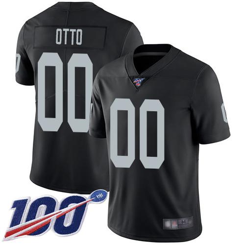 Men's Limited #00 Jim Otto Black Jersey Vapor Untouchable Home Football Oakland Raiders 100th Season