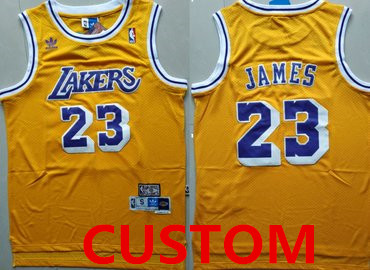Youth Custom Los Angeles Lakers Yellow Hardwood Classics Jersey