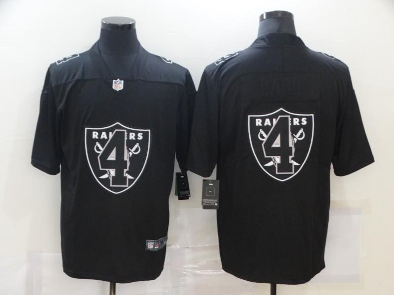 Men's Las Vegas Raiders #4 Derek Carr Black 2020 Shadow Logo Vapor Untouchable Stitched NFL Nike Limited Jersey