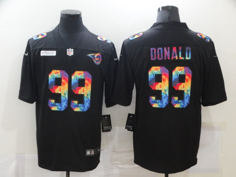 Men's Los Angeles Rams #99 Aaron Donald Multi-Color Black 2020 NFL Crucial Catch Vapor Untouchable Nike Limited Jersey