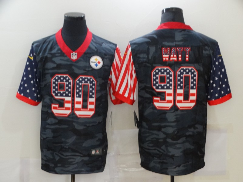 Men's Pittsburgh Steelers #90 T. J. Watt USA Camo 2020 Salute To Service Stitched NFL Nike Limited Jersey